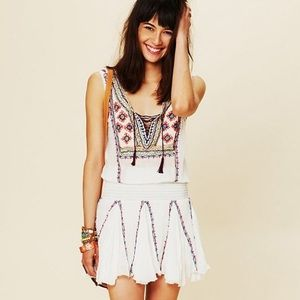 Free People FP One Fez Dress White Embroidered - L